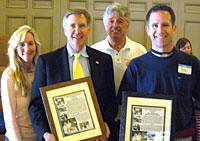 California Department of Veteran's Affairs Secretary Tom Johnson joins Rob and Sheri Hatch to receive commendations from KNMF Chair Nick Nickelson